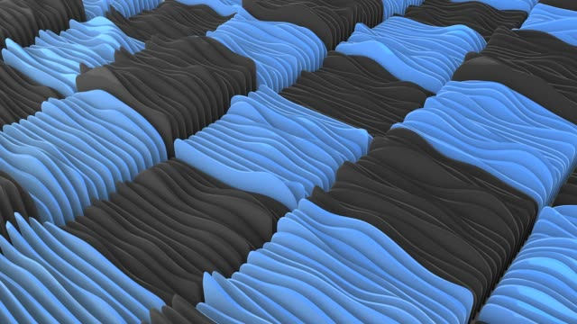 Abstract wavy shapes animation, 3D rendering