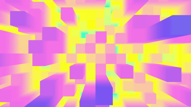 Abstract white background of moving cuboids. Monochrome futuristic pattern in violet, green and yellow colors.