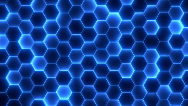 sfondo bianco astratto di esagoni in movimento. motivo futuristico monocromatico nei colori blu e nero. - esagono video stock e b–roll
