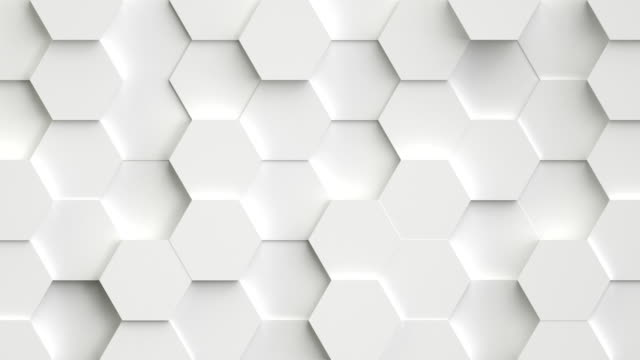 Abstract white background with 3D hexagons loop video