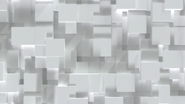 Abstract white cube block on random level surface. Minimalism concept. 3D illustration rendering. 4K motion graphic footage video. Seamless looping Abstract white cube block on random level surface. Minimalism concept. 3D illustration rendering. 4K motion graphic footage video. Seamless looping mosaic stock videos & royalty-free footage