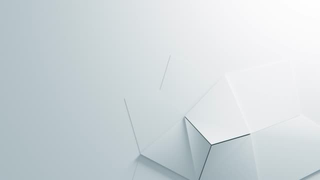 Abstract White Geometric Surface quad Loop clean minimal pattern, Animated 3d background for business presentation. Soft shadows and reflection. Paper Wave moving. Animation of seamless loop. B 4K UHD