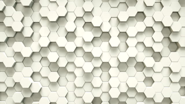 vídeos de stock e filmes b-roll de abstract white hexagon geometric surface | loopable - honeycomb
