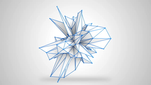 Abstract white shape rotating 3D render. Loop video