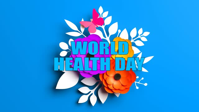 Abstract World Health Day Concept With Flowers On Blue Background World Health Day, Abstract, Background world health day stock videos & royalty-free footage