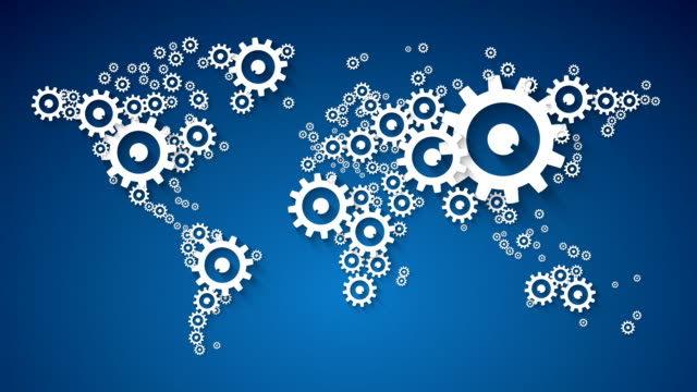 vídeos de stock e filmes b-roll de abstract world map, global cooperation with cog wheel on blue background - circular economy