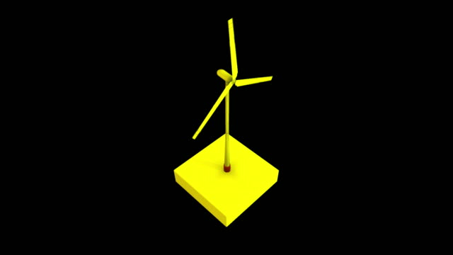 Abstract yellow windmill icon with rotating blades isolated on black background, seamless loop, monochrome. Animation. Natural resources and green energy concept.