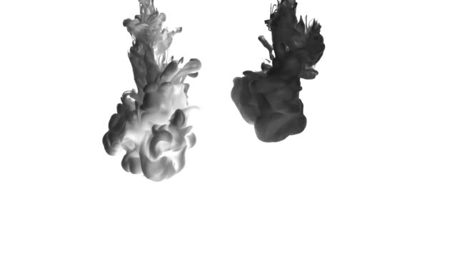 Abstraction of black ink on white background. Abstraction of black ink on white background. Fancy forms of black matter in the liquid. Magic background for chemistry, fortune telling, mysticism, biology. east asia stock videos & royalty-free footage