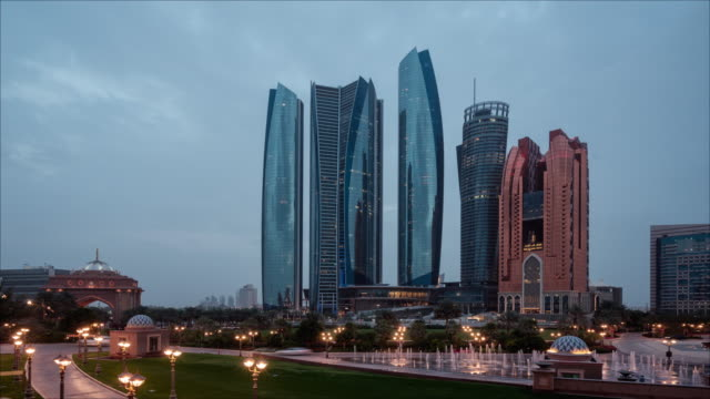 Abu day to night Dhabi Skyline Timelapse UAE Abu Dhabi Skyline Timelapse UAE egypt stock videos & royalty-free footage