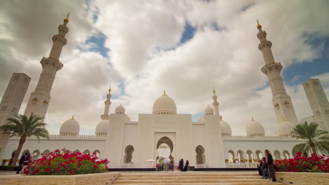 abu dhabi sky run world famous mosque panorama 4k time lapse united arab emirates - dubai architecture stock videos & royalty-free footage