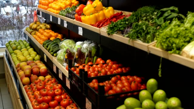 Abundance of organic products on self at store