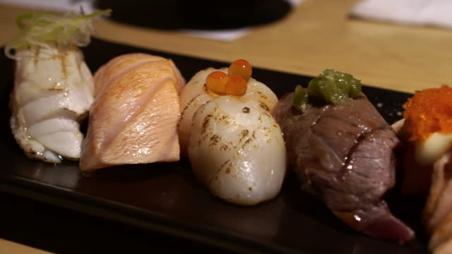 Aburi seared sushi set Japanese food video video