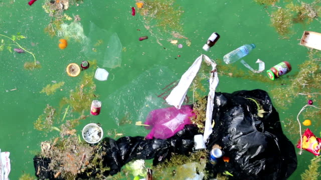 abuse of environment. garbage floats in the sea - plastic stock videos and b-roll footage