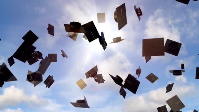 Academic graduation caps throwing in the sky background, university graduation video