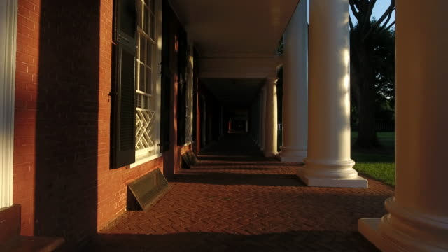 Academic Life in Virginia The University of Virginia Jeffersonian architecture at dusk, a classic American sample of eclecticism and neoclassicism. architectural column stock videos & royalty-free footage