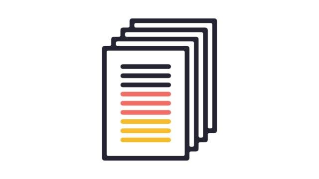 vídeos y material grabado en eventos de stock de animación de icono de línea de escritura académica con alfa - copiar