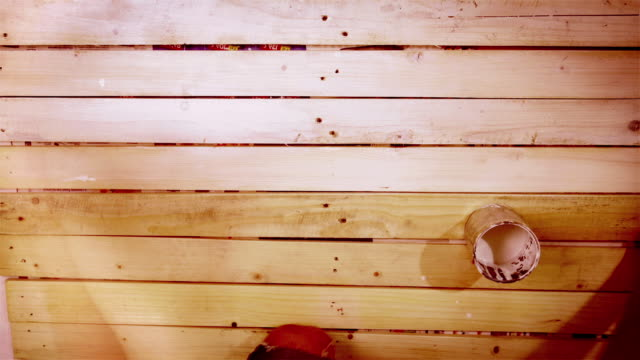 accelerated footage of the wooden board being prepared for painting video