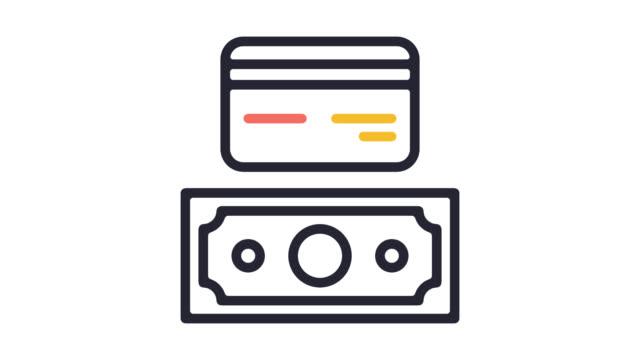 vídeos de stock e filmes b-roll de accepted payment types line icon animation with alpha - shop icon