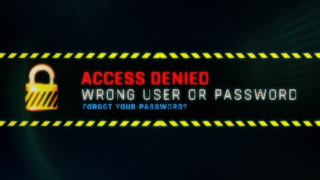 Access denied, wrong user or password screen text, system message