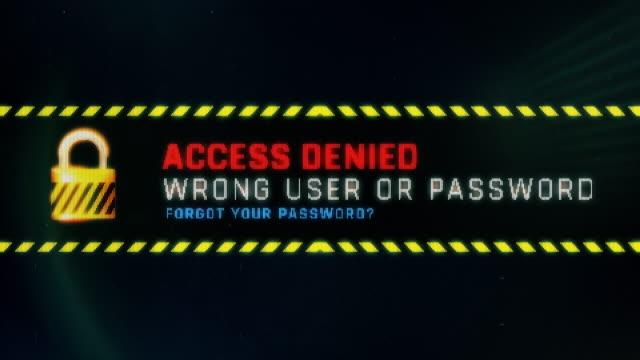 vídeos de stock, filmes e b-roll de acesso negado, errado usuário ou senha tela texto, mensagem do sistema - log on