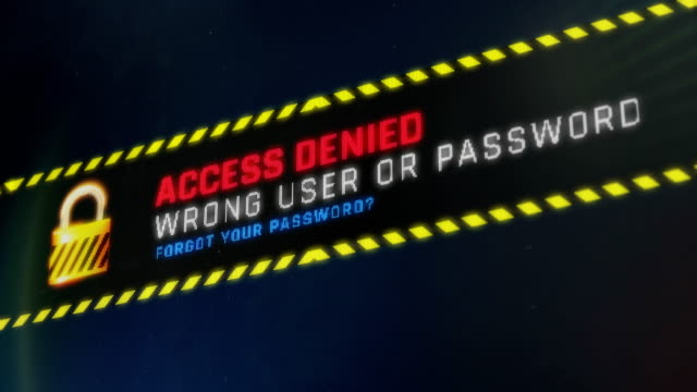 Access denied, wrong user or password, warning message on screen, identity theft