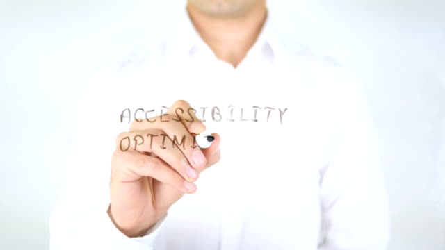 Accessibility Optimization, Man Writing on Glass video