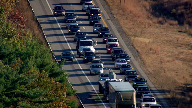 Accident And Traffic Jam On Route 93  - Aerial View - New Hampshire,  Rockingham County,  United States video