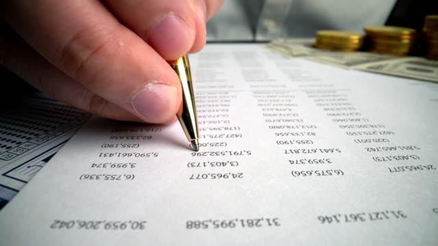revisor analysera affärsmarknadsföringsdata på papper instrumentpanel vid kontorstabellen. - accounting bildbanksvideor och videomaterial från bakom kulisserna