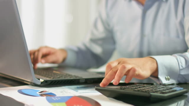 Accountant calculating, inserting data in report, business plan