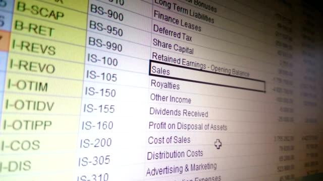 contabilità trattamento dei dati in un foglio di calcolo excel, relazione finanziario - rapporto video stock e b–roll