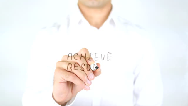 Achieve Results, Man Writing on Glass video