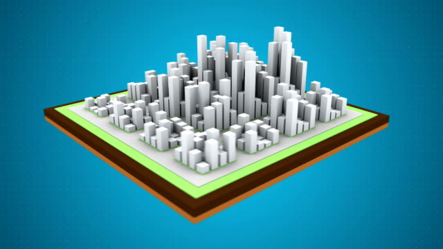 Acid rain over the city. Air pollution. 3d animation. video