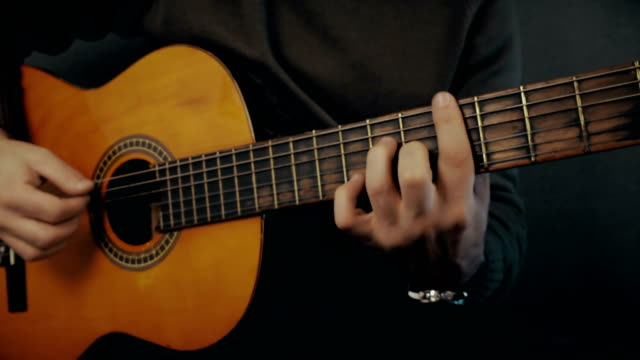 Acoustic Guitar In Musician Hands video