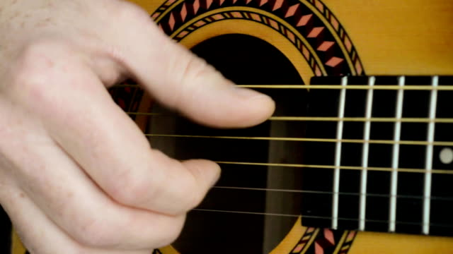 Acoustic Guitar Strumming. Close-up of a hand strumming classical guitar. video