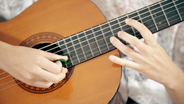Acoustic Guitar Acoustic Guitar close up play by girl puerto rico stock videos & royalty-free footage