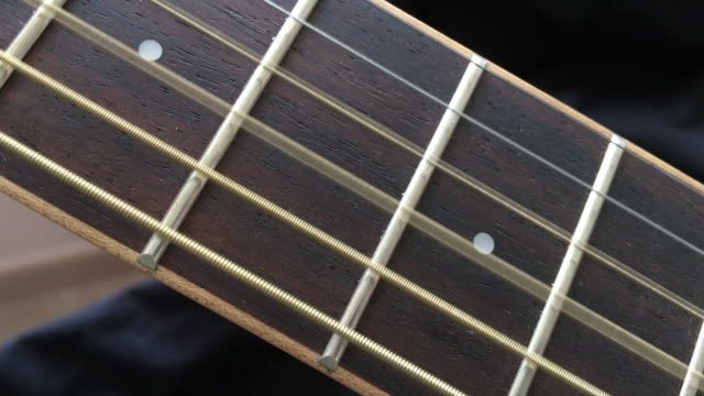 Acoustic Wooden Guitar String Playing on Fretboard video