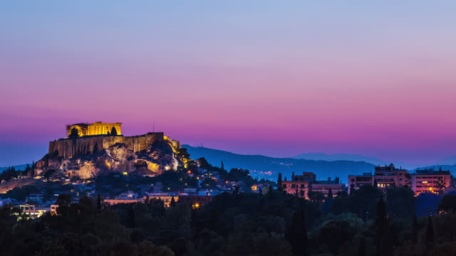 Acropolis at dusk, Athens, Greece video