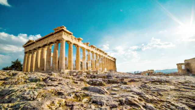 acropoli, atene - tempio video stock e b–roll
