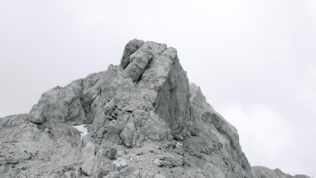AERIAL Across a rugged rocky mountain ridge