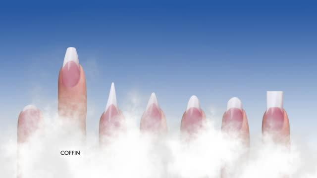 acrylic nails shape animation (english text) - femminilità video stock e b–roll