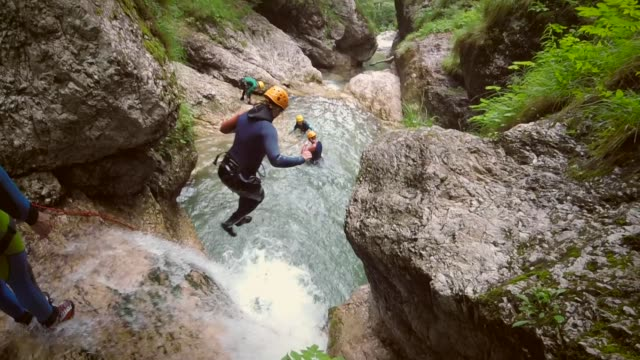 Action POV video of woman canyoning in the Soca valley in Slovenia.