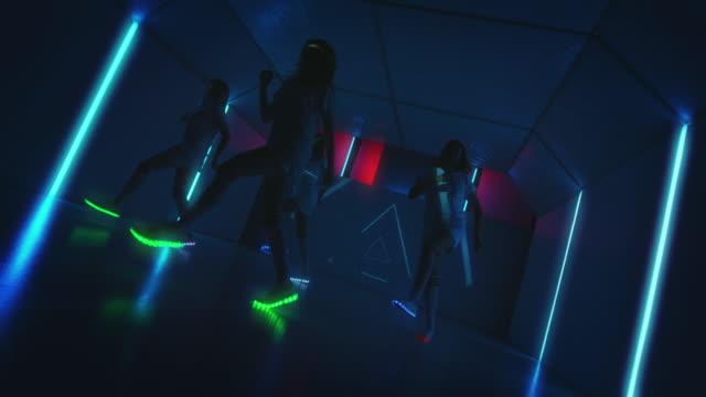 Active break dancers performing in dance studio