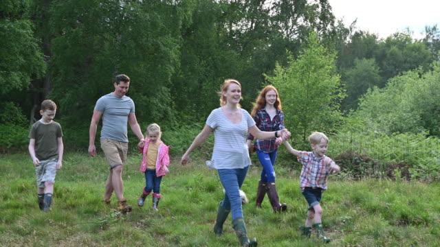 aktiv familj med fyra barn och hundvandring i skogsmark - 35 39 år bildbanksvideor och videomaterial från bakom kulisserna