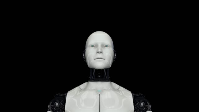 Active humanoid robot on a black background. Artificial intelligence. The camera approaches the robot. 4K. 3D animation.