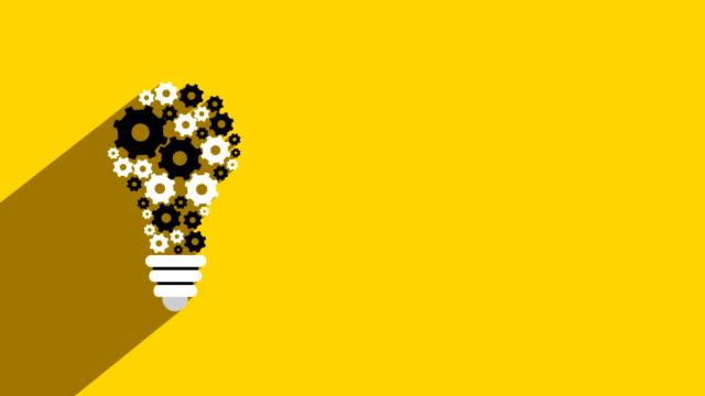 Active Idea Bulb with gear loop animation. Continues loop rotation of bulb shaped gears. video