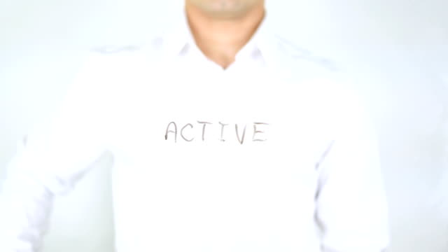 Active, Man Writing on Glass video