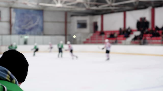 Active men playing hockey on ice rink, masculine hobby, sportive lifestyle video