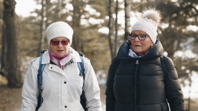 active senior couple on a hike in winter - abiti pesanti video stock e b–roll