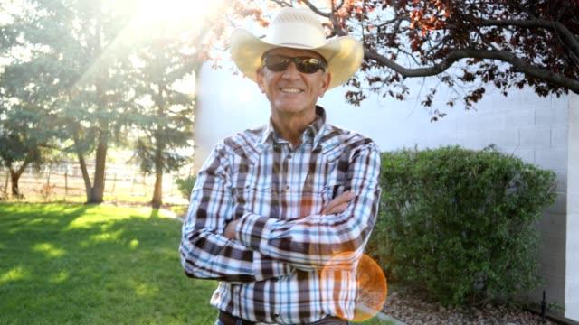 active senior cowboy video portrait. - cowboy video stock e b–roll