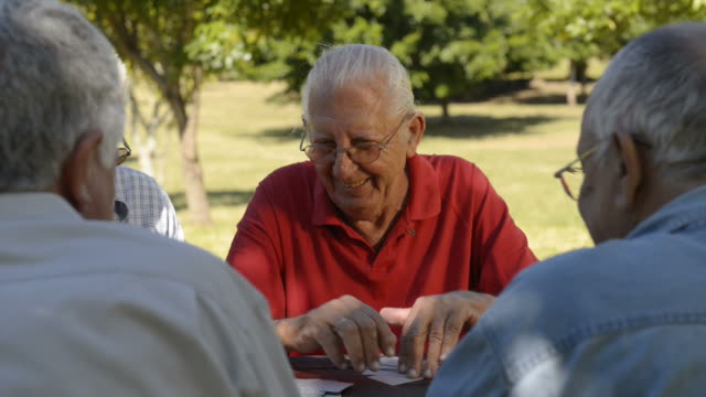 Active seniors, group of old friends playing cards at park Active retirement, old people and seniors free time, group of four elderly men having fun and playing cards game at park. Sequence of closeup, medium and wide shots. playing card stock videos & royalty-free footage
